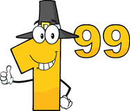 Price Tag Number 1.99 With Pilgrim Hat Cartoon Character Giving A Thumb Up Royalty Free Stock Photography