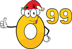 Price Tag Number 0.99 With Santa Hat Cartoon Character Fotografia Royalty Free