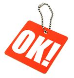 Price tag with OK. On it, there is no infringement of trademark copyright Stock Photography