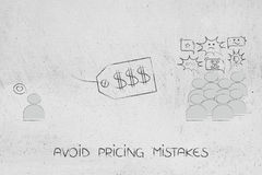 Price tag between one only person liking and other customers dis Stock Photography