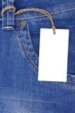 Price tag over jeans pocket Royalty Free Stock Image