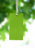 Price tag. From recycled paper  on green  background Royalty Free Stock Images