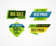 Price tag. Sale offer banner, discount promotion price badge. Vector big sale labels collection stock illustration