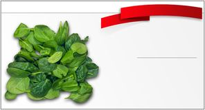 The price tag for the sale of spinach stock photos