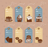 Price tag. Price tags with dessert and pastry. Vector illustration royalty free illustration