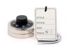 Price tag and unlocked lock Stock Photo