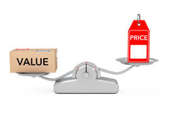 Price Tag with Value Box Balancing on a Simple Weighting Scale. Price Tag with Value Box Balancing on a Simple Weighting Scale on a white background. 3d Royalty Free Stock Photos
