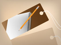 Price tag wit book and pencil. Brown background Stock Images