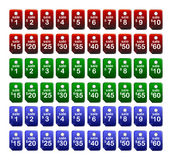 Price Tags. Set of 60 Price tages ranging from $1-$60, in colours red, blue and green royalty free illustration