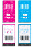 Price tags. Special price tags with snowflakes Royalty Free Stock Image