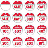 Price Tags. Set of price tags with sale, clearance and reduced Royalty Free Stock Image