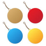Price tags. Round shape collection over white background Stock Photos