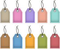 Price tags. Blank colorful price tags made of leather. Labels for shopping. Vector illustration stock illustration