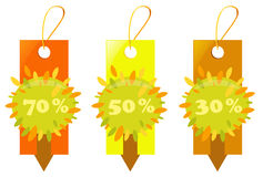 Price tags - autumn sale Stock Image