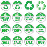 Price Tags;Environmental. Price tags with environmental messages; recycled, organic, etc Royalty Free Stock Image