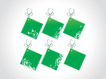 Price tags with floral elements, green Royalty Free Stock Image