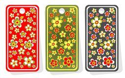 Price tags with flowers. Three ornate price tags with flowers isolated on  a white background Royalty Free Stock Photography