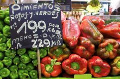 Price tags on a pepper market stall Royalty Free Stock Images
