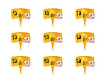 Price tags with percentage discount Royalty Free Stock Image