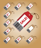 Price tags with prices. Beautiful price tags with prices on brown background Royalty Free Stock Photos