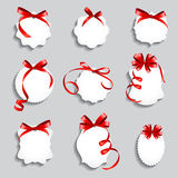 Price Tags with Red Bows and Ribbon Set. Paper Label  Design Vec Stock Photo