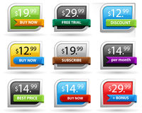 Price tags or sale tags. Easily change the color Stock Images