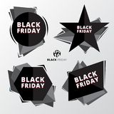 Price tags set black friday sale discount on white background. Royalty Free Stock Photos