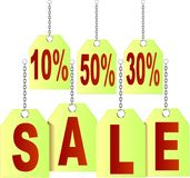 Price tags symbolizing SALE with discount Royalty Free Stock Photos