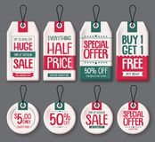 Price tags template vector set. White paper sale tags with huge sale and discount text. In different shapes for end of season store promotion. Vector stock illustration