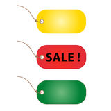 Price tags in vibrant colors. Isolated on a white background Stock Photography
