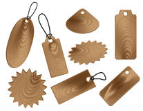 Price tags in wood grain textures style Royalty Free Stock Photos