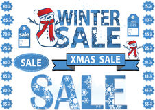 Price tags xmas. Set of price tags for winter or xmas sale with snowflakes vector illustration