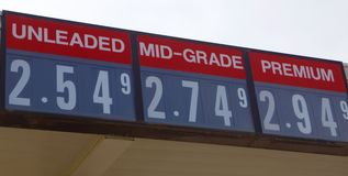 Gas Prices Sign. A city refueling vehicle service station advertises it's gas prices Royalty Free Stock Images