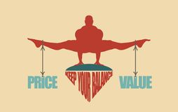 Price and value balance. Concept of the scales Royalty Free Stock Images