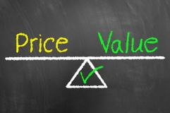 Price value balance drawing and text on chalkboard or blackboard stock photos