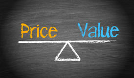 Price and value business concept. Drawing of price and value balancing on a blackboard, business concept Royalty Free Stock Photography