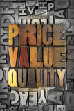 Price Value Quality. The words PRICE VALUE QUALITY written in vintage letterpress type Stock Photos