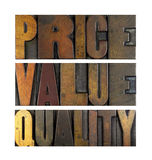 Price Value Quality. The words PRICE VALUE QUALITY written in vintage letterpress type Stock Photo
