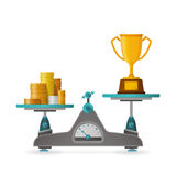 Price of victory vector concept in flat style with goblet Royalty Free Stock Images