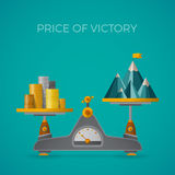 Price of victory vector concept in flat style with mountain peak Royalty Free Stock Images