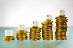 PRICE word on graph like coin stacks Stock Photography