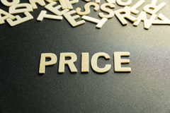 PRICE word. Made with wooden letter Royalty Free Stock Photos