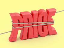 Price word in a rope loop. Royalty Free Stock Photo