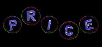 The price word in bubble. The price word in soap bubble on black background,3d rendered Royalty Free Stock Image