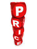 Price. Words in toy blocks, red colored blocks on white background, sales and  comparison concept Stock Photography