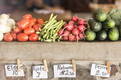 Priced vegetables on the market Stock Photos