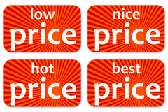 Prices. Price tags indicating cheap/cheaper products Royalty Free Stock Photo