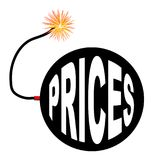 Prices Bomb And Lit Fuse. An old fashioned round black bomb with a lit fuse and the text prices royalty free illustration