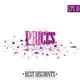Prices, destroyed letters 3D best discounts Royalty Free Stock Images
