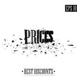 Prices, destroyed letters 3D best discounts Royalty Free Stock Image